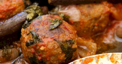 spiced meatballs with eggplants