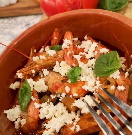 Γαρίδες σαγανάκι με μανιτάρια