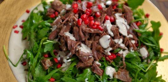 shredded beef and rocket salad with tahini yoghurt dressing