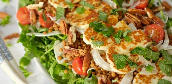 lentils haloumi salad